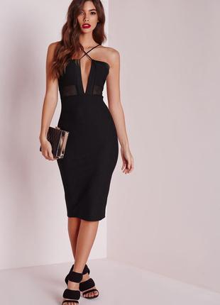 Шикарное чёрное миди платье с вырезом / платье в обтяжку