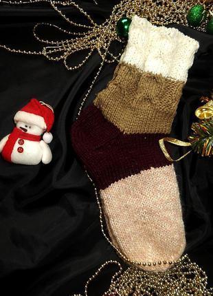 Теплые вязаные носки высокие носки тапочки качество
