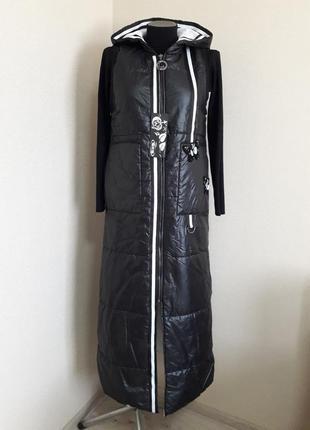 Крутой,модный,длинный утепленный брендовый жилет eze,в пол