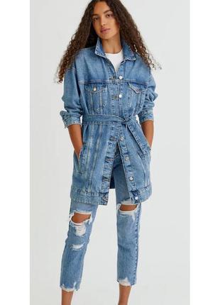Куртка тренч джинсовая pull and bear