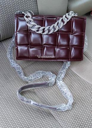 Жіноча сумка в стилі bottega veneta cassette коричнево-баклажанова