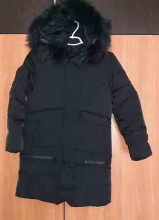 Зимнее пальто пуховик на рост 140 см