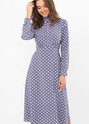 Привлекательное платье-миди в горошек 🌼