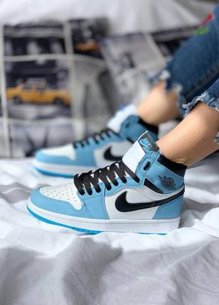 Nike air jordan 1 retro high 'university blue' кроссовки высокие женские
