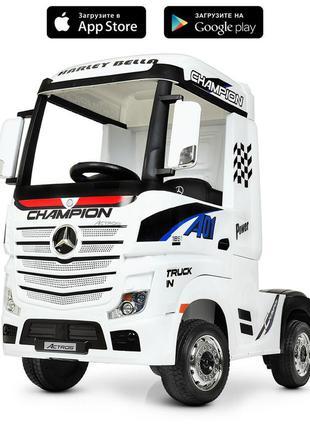 Детский электромобиль-фура- грузовик mercedes-benz actros m 4208eblr-1 белый (1100270)