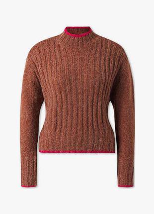 Кроп свитер с контрастной окантовкой
