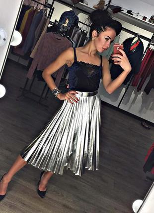 Шикарная юбка серебро