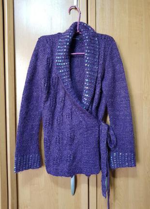 Стильная мохеровая накидка, кофта, тёмно-фиолетовая тёплая накидка, кардиган