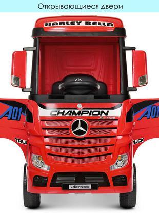 Детский электромобиль-фура-грузовик с прицепом mercedes-benz actros m 4208eblr-3(2) красный(1100275)