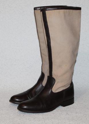 Кожаные сапоги zara .кожа и брезент 37 размер 24 см стелька