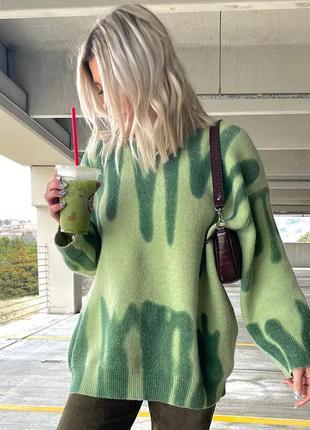 Теплий жіночий светр пуловер оверсайз з принтом осінь/зима інстаграм тренд 2021