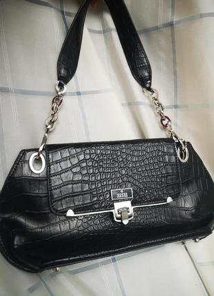Чёрная сумка, бренд, кожа рептилии,  принтованая кожа