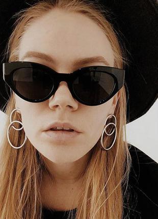 Трендовые солнцезащитные очки в стиле 60-х, цвет чёрный