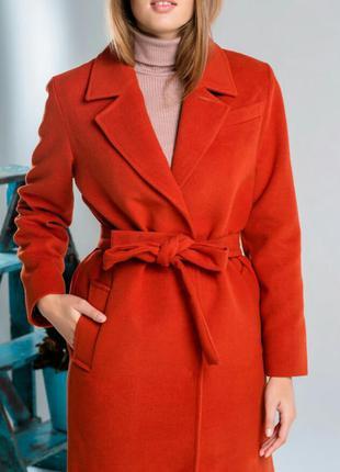 Пальто осень зима длинное терракотовое the lace
