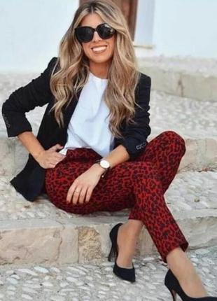 Стильные брендовые укороченные брюки с леопардовым принтом zara турция этикетка