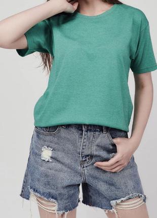Зеленая меланж хлопковая футболка оверсайз базовая
