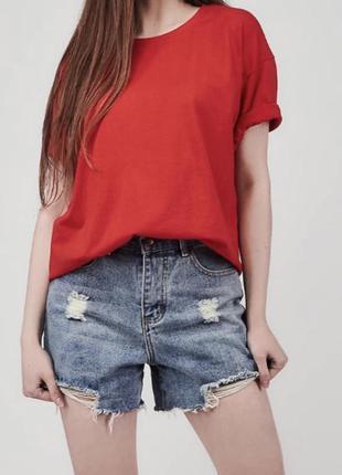 Красная хлопковая футболка оверсайз базовая
