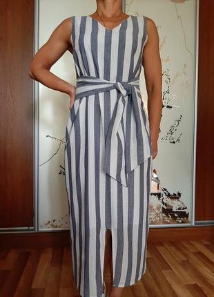 Легкое белое платье миди в полосочку от lookagain