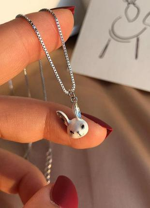 Цепочка с кулоном зайчик с длинными ушками, серебряное покрытие 925 пробы