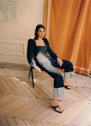 Zara черный топ блузка c вырезом каре в объемными рукавами xs s
