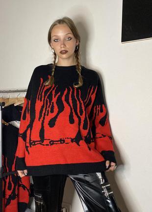 Кофта огонь пламя свитер свитшот flame y2k аниме gothic