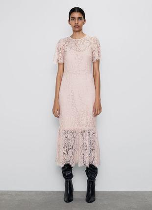 Очаровательное нежное платье zara из гипюра