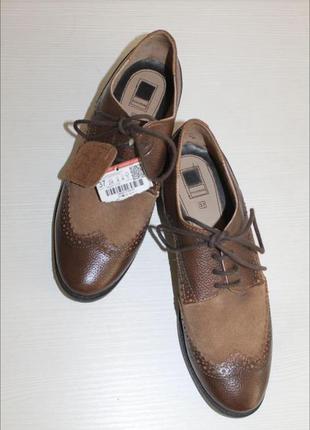 Броги оксфорды туфли на узкую ножку pull&bear кожа  замша