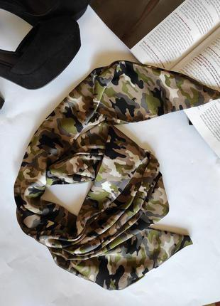 Шарф зелёный / аксессуар на шею, сумку / шарфик
