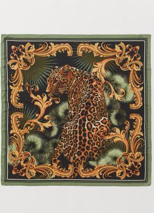 Красивый анималистичный платок косынка принт вензеля леопард h&m