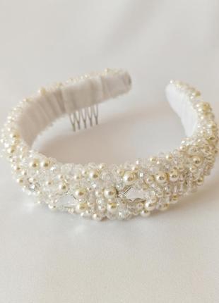 Обруч-ободок для волос, расшит хрусталём и swarovski перламутрового цвета, украшения для невесты ksenija vitali