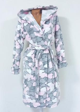 Женский халат махровый с капюшоном на запах 44-54
