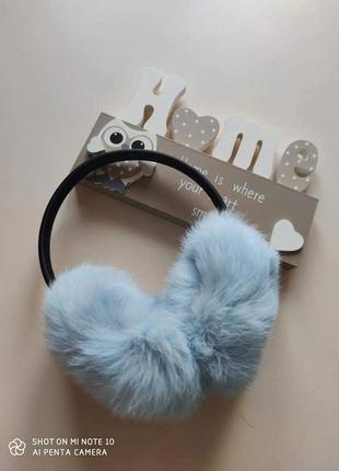 Наушники меховые навушники хутро кролика голубі