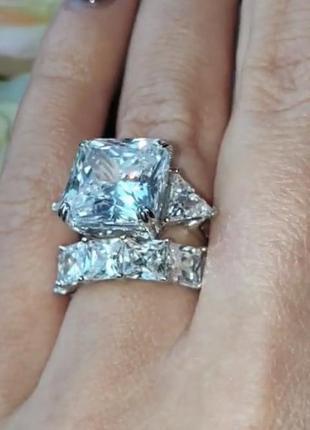 Кольцо колечко дорожка камней серебро кубический цирконий циркон камень большой