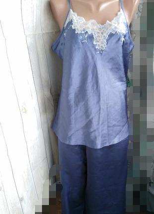 Пижама брюки и топ атласная спальный комплект xl  xxl