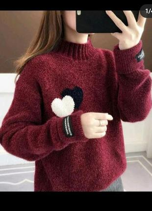Гольф кофта кофточка свитер тёплый теплый теплий оверсайз качественный якісний модный стильный крутой бордо бордовый бордовий