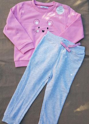 Тёплый костюм на девочку штаны + кофта