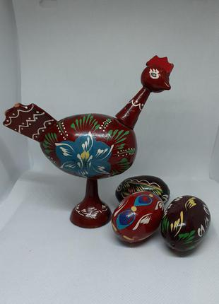 Курица с яйцами сувенир писанка ручная роспись дерево пасхальный подарок яворовская розпись дерево ручная работа винтаж