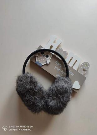 Меховые наушники мех кролика рекс навушники сірий серый