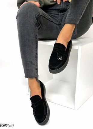 Слипоны лоферы туфли натуральная замша