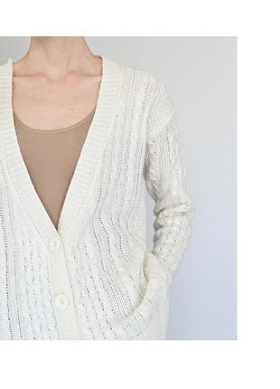 Светлый теплый кардиган. белая кофта на пуговицах. вязаный білий кардіган жіноча теплая женский