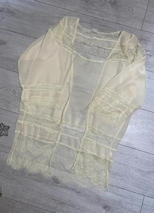Светло-желтый прозрачный халат для дома xs