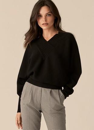 Кашемир чёрный свитер шерстяной вязаный v-образный вырез базовый
