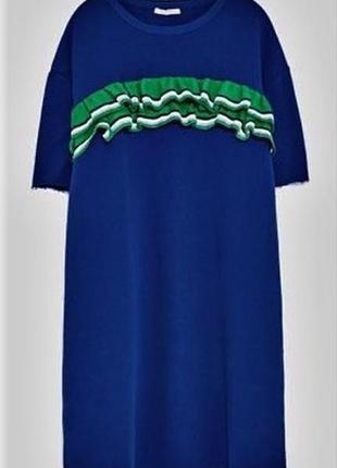 Платье рубашка оверсайз с оборками в рубчик платье футболка туника