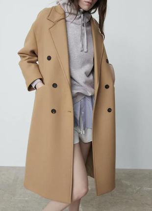 Стильное шерстяное пальто zara🌷премиум серия👌