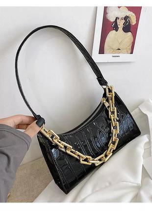 Повседневные женские сумки-тоуты в стиле ретро модная  сумочка черная для покупок из кожи на цепочке  цепь крокодиловый принт