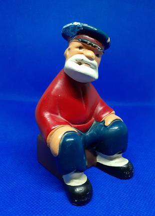 Щукарь! дед на завалинке статуэтка фигурка гипсовая курильщик миниатюра ссср советская в эмали винтаж