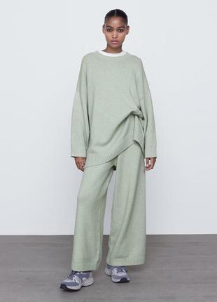 Новый женский вязаный трикотажный костюм свитер трикотажные брюки штаны кюлоты zara