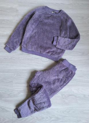 Мягкий плюшевый фиолетовый пушистый комплект