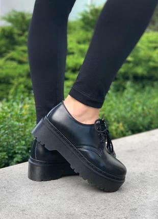 Женские туфли  dr. martens 1461 mono black platform