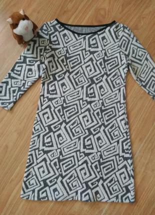 Теплое платье в принт